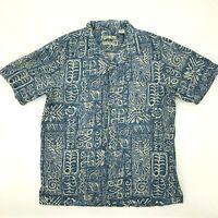 Batik Bay Silk Shirt Men's Size M Hawaiian Mashire Washable Coconut Button Up