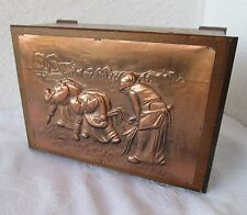 OLD antique WOODEN BOX w/ Embossed copper plaque on the lid,  agricultural labor