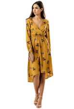 Womens Ladies Mustard Floral Midi Wrap Going Out Evening Dress