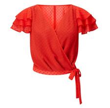 Miss Selfridge Women Stylish Red Layer Sleeve Wrap Top - Size 12 14