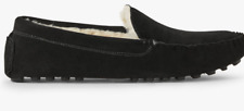 John Lewis & Partners Mens Faux Fur Moccasin Slippers, Black, Size UK 7 to 8