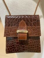 Vintage FURLA Mini Bag - Crossbody, Crocodile Embossed Brown Leather 5x5