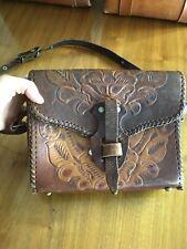 Vintage Tooled Leather Purse Bag Shoulder Strap Mexican Hippy Boho