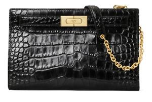 Tory Burch Lee Radziwill Croc Embossed Leather Shoulder Bag Black #54C