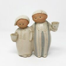 Vintage Japanese Pottery UCTCI Gempo Stoneware Peasant Couple Weed Vase / Shaker