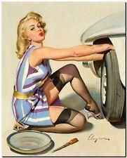 "Vintage GIL ELVGREN Pinup Girl CANVAS PRINT Changing Tyre 16X12"""