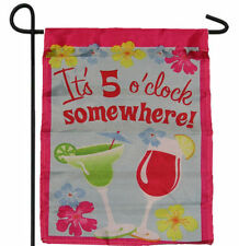 """IT'S 5 O'CLOCK SOMEWHERE MARTINIS GARDEN BANNER/FLAG 12""""X18"""" SLEEVED POLY"""