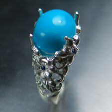 Natural Turquoise Blue sleeping beauty 925 silver 9ct 14k 18k Gold Platinum ring