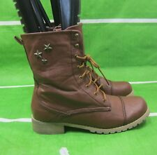 NEW LADIES Gaga Brown Ankle Lace Rugged Combat Riding Winter sexy Boots Size 9