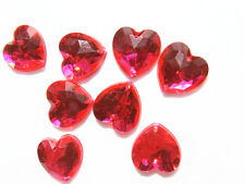 80 Pink Faceted Love Heart Beads 16 mm Acrylic Rhinestone Gems 2 Hole Sew On