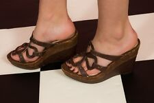 Brown faux leather croc pattern 4 leaf clover strappy wedge Mules size 5 Asos