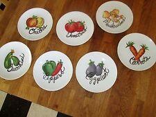 """Set of 7 Lenox 6.5"""" Canape Bread Plates Vegetables Carrots Eggplant Onions 6.5"""""""