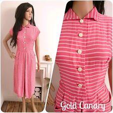 Vintage 1940's 50's Pink Satin Candy Stripe Dress Midi 10 12 38