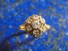 Bague ancienne Or Gold 18k 750 7x brillants (non diamant) 2,48g T57