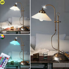 Büro LED Schreib Tisch Lampe RGB Fernbedienung Antik Messing Glas dimmbar Flur