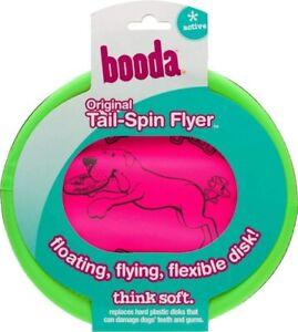 "ASPEN BOODA SOFT FLOPPY TAIL SPIN FLYER 10"" FRISBEE GREEN & PINK MIXTURE DOG TOY"