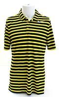 Nike Golf Dri Fit Black & Yellow Stripe Short Sleeve Polo Shirt Men's NWT