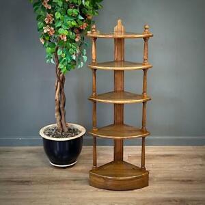 Attractive Tall Ercol Elm Five Tier Whatnot Corner Shelves