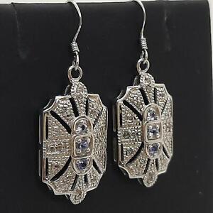 Genuine 1.12ctw Tanzanite & H-SI Diamond 925 Sterling Silver Earrings