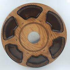 "Lazy Susan Fondue Holder Mid Century Modern Tray Wood Glass Magnetic 16"" Japan"