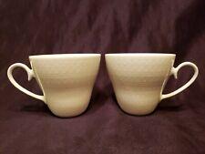 "2 Rosenthal ROMANCE All White Motif Coffee Cups 2 7/8"" Ovals & Dots Pattern EUC"
