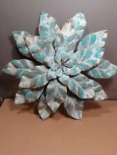 Beautiful antiqued metal flower wall sculpture in relief about 2 x 11