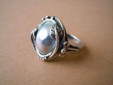 Designer Ring aus 925 Sterling Silber mit Blue Mabe Perle 6,8 g/RG 58