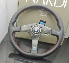 350mm ND Leather Flat Style Carbon Fibre Steering Wheel OMP MOMO Drifting Racing