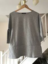 MARKS & SPENCER LADIES GREY STRIPED TOP SIZE 10