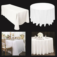 1 x White POLYESTER TABLECLOTH Table Cover Cloth ROUND RECTANGLE Christmas Party