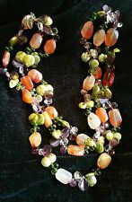 Natural Stone and Pearl 3 Strand Necklace