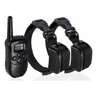 1/2 Dogs Electric Shock Collar Waterproof 300m Remote Control Bark Pet Training