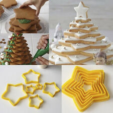 3D 6pcs/set New Star Shape Cookie Biscuit Cutter Plastic Cake Mould Pastry Decor