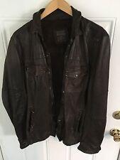 All Saints Men Brown Spitafield Leather Jacket
