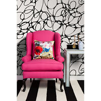 Doodle removable wallpaper Black and white pattern peel and stick wall decor