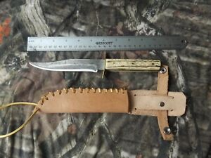 Vintage Olsen Knife Co. Solingen Original Bowie Knife w/ Leather Sheath