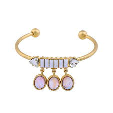 Cuff Bangle Antique Gold Jewelry Oval Geometric Pendant Bracelets Charms Open