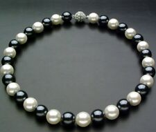 Real 10mm Black & White Sea Shell Pearl Necklace 18'' A+++ CZ Button