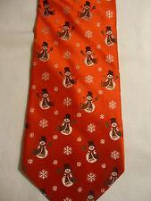 "Holiday Traditions Hallmark Black Red White Christmas Snowmen Flakes Tie 59"""