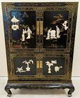 LARGE Asian CHINESE Black Lacquered CARVED STONE CHINOISERIE Style CABINET Chest