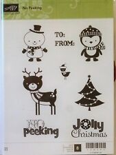 Stampin Up NO PEEKING clear mount stamps Christmas tree snowman deer Holidays