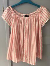 Boho Gypsy Candy Striped Peach Pink White Bardot Off Shoulder Top Blouse 6 XS