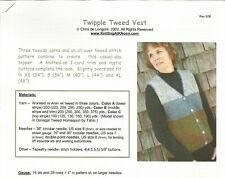"""Twipple Tweed Vest Button Down Knitting At Noon Instruction Pattern XS-XL 34-44"""""""