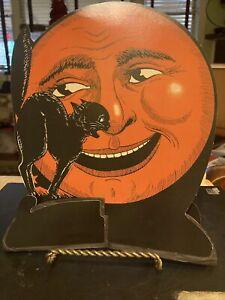 Vtg Beistle Halloween Die Cut Orange Man In Moon W Black Cat Crepe Paper Pullout