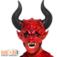 Deluxe Devil Lord Mask + Horns Halloween Fancy Dress Mens Costume Demon Mask