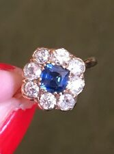 Fine Old Cut Diamond And Sapphire Cluster Ring 18ct Gold