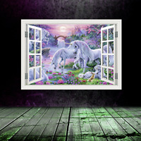 Full Colour Unicorn Window Wall Art Sticker Decal Transfer Graphic Print WSDW2