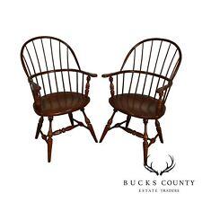 Fredrick Duckloe Solid Cherry Pair Hoop Back Windsor Armchairs