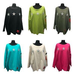 NEW Womens Soft Cotton RED LABEL Three Sequin STAR Lagenlook Sweatshirt Zip Top