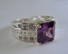 Massive Man's Sterling Silver Amethyst and White CZ Band/Ring Sz 10